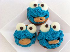 These impressive Muppet cakes are actually simple to create: No precision's necessary when piping on the blue fur.