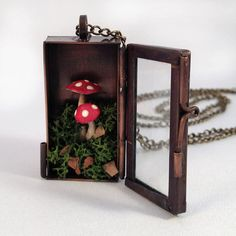 Handmade Red Mushroom Terrarium Shadow Box by ingredientsforlovely, $39.99
