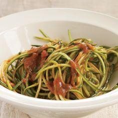 Zucchini Ribbons with Raw Tomato Marinara