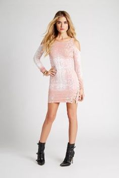 Long-Sleeve Ombre Python-Print Lace-Up Dress | GUESS.com