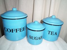Enamelware Blue Canisters Set Coffee Sugar Tea By Alottocollect