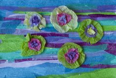 Tissue paper onto cardstock, cut to shape of lily pad. Lily flower of coffee filters and brads. Kindergarten.