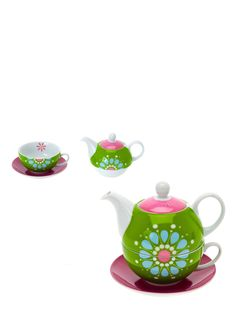 Vintage Flower Tea Set for One