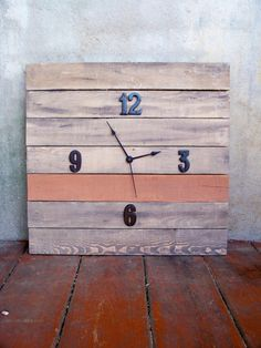 reclaimed wood pallet clock for sale ($110.00) on Etsy.com from RusticWoodOriginals… man I love everything in this shop!!!