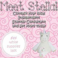 Scentsy Buddy unicorn Stella! Available September 1, 2014.