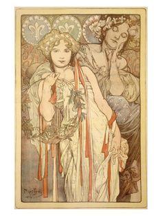 Alphonse Mucha. Friendship. Art Nouveau.