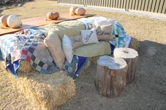 Southern Vintage wedding rentals - quilts - at Vinewood Weddings & Events - Fall rustic wedding