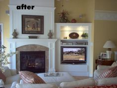 tv at an angle next to fireplace