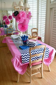 Table Decor. So cute! Wrapping paper runner!