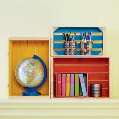 DIY Painted Storage Wood Crates make colorful, customized organization!