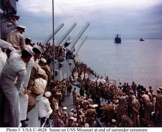 Japanese Surrender, Tokyo Bay, September 2, 1945 aboard the battleship USS Missouri