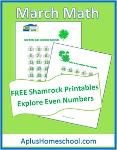 FREE Homeschool Printables - Shamrock Math: Even numbers
