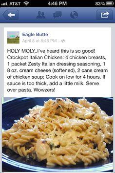 Crockpot chicken.....Italian dressing recipe.  This was good and easy! Just use cream of mushroom soup not cream of chicken! And add grilled chicken!