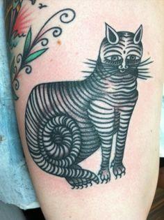 Stripes kitty cat tattoo