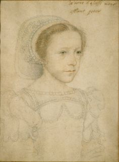 Jean Clouet, Portrait of a Young Girl, ca. 1520; Black and red chalk on ...