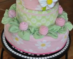 Diaper Cake with Washcloth Roses, Handmade Gifts for Baby's & Toddlers (Wrap outside of diaper rounds with folded receiving blankets and/or burp cloths)
