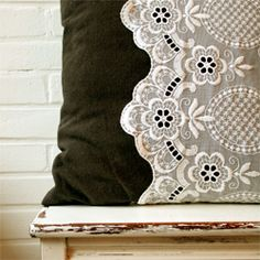 DIY - Recycle your old lace curtains and make them into cute lace pillow cases! @By Wilma