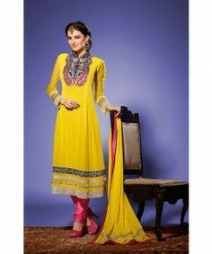YELLOW GEORGETTE PARTYWEAR SALWAR SUIT  Make Heads turn at any party with this lovely yellow georgette partywear salwar suit. Exciting Zari, Resham embroidery with Stone work & Patch Patta designing is done to increase the style quotient.  Lovely Sleeves & neck designing adds more to this lovely dress. A beautiful Salwar, Churidar Dupatta & an inner (Astar / Lining ) completes the look.