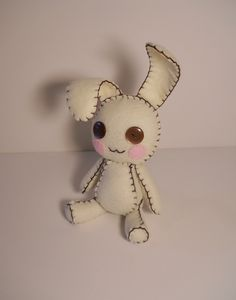 Felt little cream and brown bunny rabbit plush stuffed toy