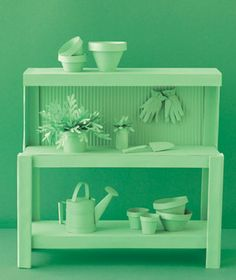Potting bench made of paper by Matthew Sporzynski for Real Simple