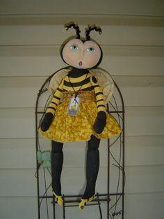 Primitive Folkart Doll Pattern Bumble Bee MHA by Raggedyrhondas, $14.00