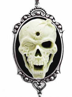"""Shotgun Skull"" Cameo Necklace by Couture by Lolita (Black) #InkedShop #skull #cameo #style #fashion #jewelry #necklace #pendant"