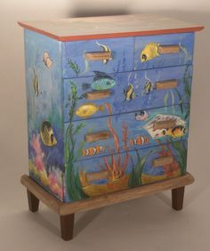 """Sticks"" Tropical Fish Chest of Drawers by Renee Isabelle"