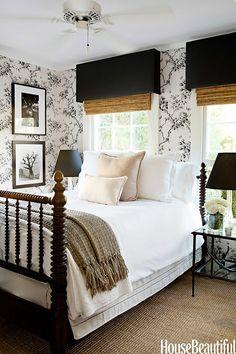 Black & white bedroom | A Glamorous Farmhouse design by Tobi Tobin