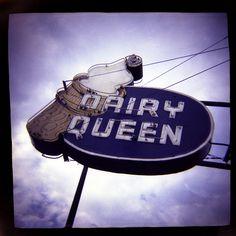 signage, neon, dairy queen