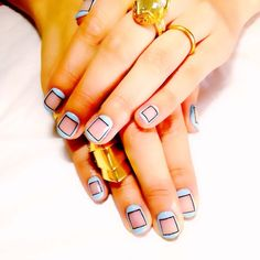 Square nails take on a new meaning with this graphic nail art idea #nails #manicure #nailart #beauty