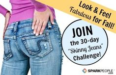 The 30-Day Skinny Jeans Workout Plan: Daily workouts and challenges (no equipment required) delivered to your inbox so you can get in shape this month! | via @SparkPeople #fitness #exercise #TeamSkinnyJeans #legs #butt #ab