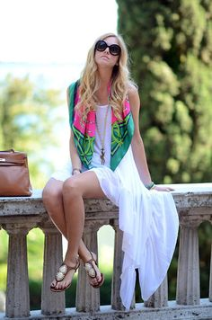 white maxi dress + patterned scarf IN LOVE