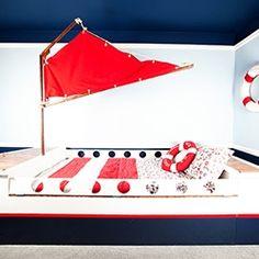 Nautical Child's Room Decor: DIY Boat Bed w/ Hidden Storage & Chic Coastal DIY Storage Dresser/Toy Box