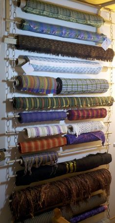 Bolts of Handwovens by weaver Sally Orgren