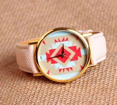 Beige leather bracelet watch women's wrist watch unisex watch men's wrist watch Friendship gift