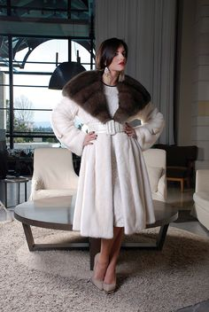 White Mink & sable Fur Coat