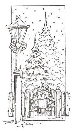 kerststempel lantaarn met kerstboom
