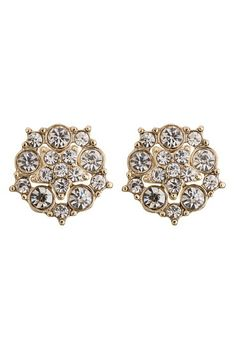 Rhinestone Cluster Button Earrings (original price, $10) available at #Maurices