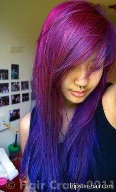 purple long blue fade straight ombre hair
