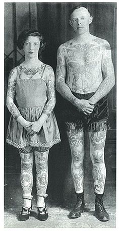Vintage tattooed couple.