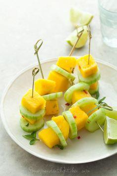 Mango Cucumber Salad Skewers gourmandeinthekitchen.com