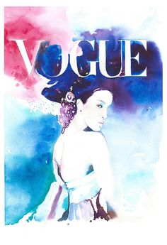 Print of Fashion Illustration Watercolor by Cate Parr.  Inspiration ~ Paolo Roversi www.silverridgestudio.etsy.com