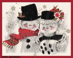 Snowman Snow People Vintage Christmas by mermaidfabricshop on Etsy, $6.99 also found on our website for less at www.vintagemermaidsfabricblocks.com