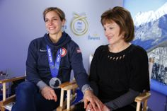 Skeleton racer & @Marcia Conatser ambassador, Noelle Pikus Pace celebrates her Silver medal at the #PGFamily home with her mom . 2014 Getty Images.