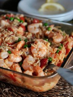 Baked Shrimp and Orzo with Feta