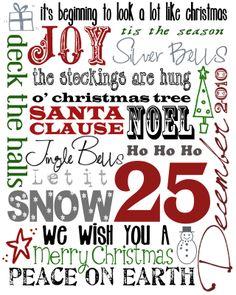 Christmas subway art - Free Printable - for Christmas Card?
