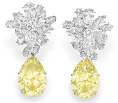 Pear-shaped fancy yellow, natural coloured diamonds (detachable) and marquise cut and pear-shaped diamond clusters set in platinum.  Bulgari, 1960.  Gift from Eddie Fisher to Elizabeth Taylor for her 30th birthday.  Jewellery, jewelry