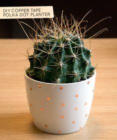 polka dot copper tape planter
