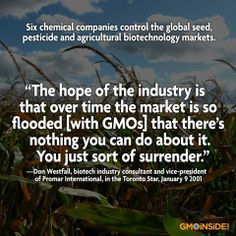Six Chemical Companies Control The Global Seed, Pesticide and Agricultural Biotechnology Markets. More Here: https://www.facebook.com/FoodDemocracyNow