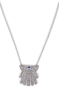 Deb Shops Stone Necklace with Fanned Design $7.50